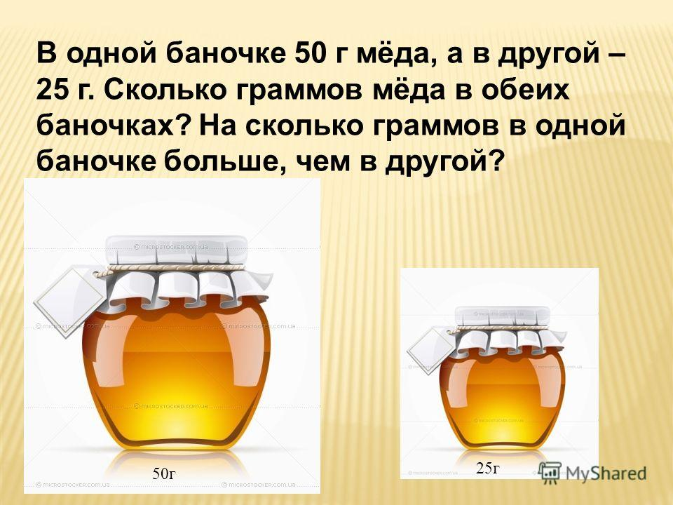 В одной баночке 50 г мёда, а в другой – 25 г. Сколько граммов мёда в обеих баночках? На сколько граммов в одной баночке больше, чем в другой? 50г 25г
