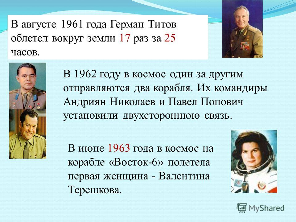 В августе 1961 года Герман Титов облетел вокруг земли 17 раз за 25 часов. В июне 1963 года в космос на корабле «Восток-6» полетела первая женщина - Валентина Терешкова. В 1962 году в космос один за другим отправляются два корабля. Их командиры Андрия