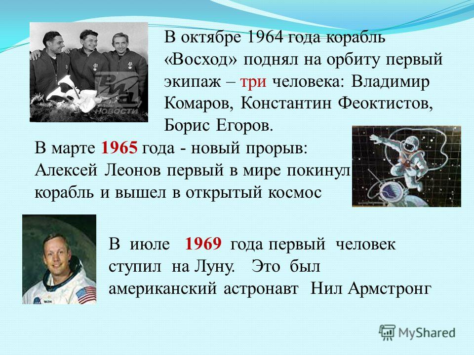 В октябре 1964 года корабль «Восход» поднял на орбиту первый экипаж – три человека: Владимир Комаров, Константин Феоктистов, Борис Егоров. В марте 1965 года - новый прорыв: Алексей Леонов первый в мире покинул корабль и вышел в открытый космос В июле