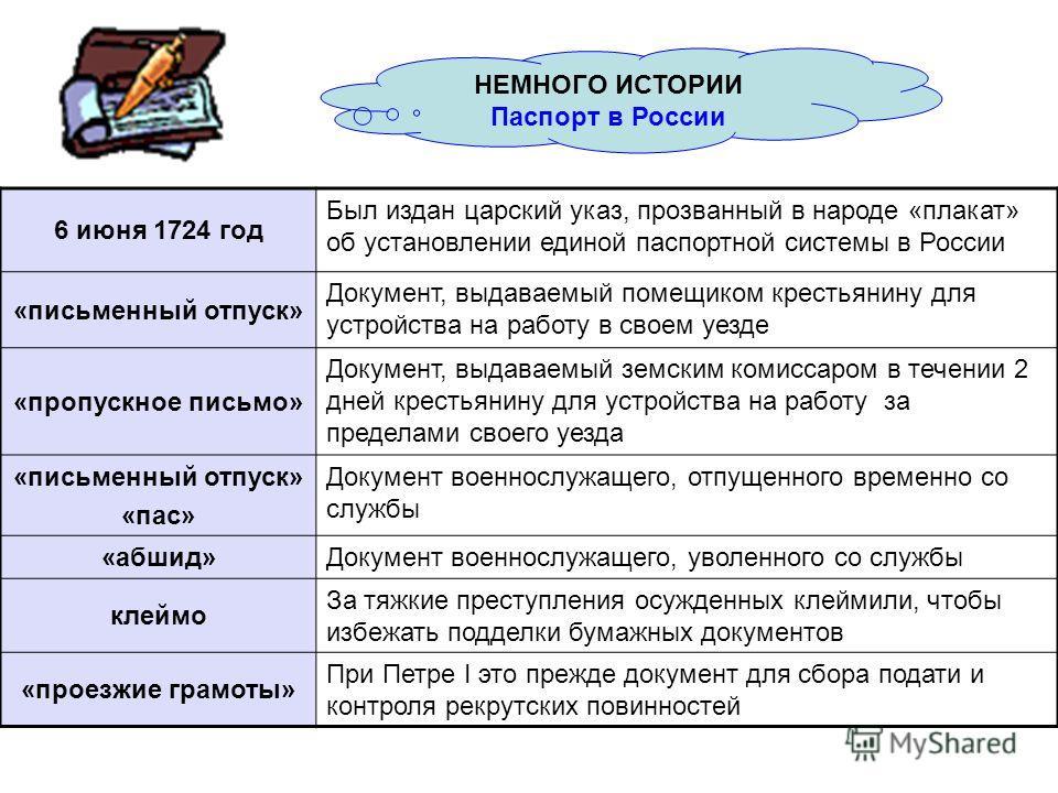 6 июня 1724 год Был издан царский указ, прозванный в народе «плакат» об установлении единой паспортной системы в России «письменный отпуск» Документ, выдаваемый помещиком крестьянину для устройства на работу в своем уезде «пропускное письмо» Документ