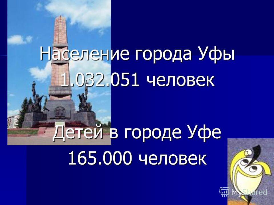Население города Уфы 1.032.051 человек Детей в городе Уфе 165.000 человек