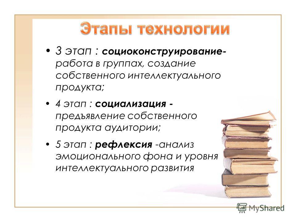 3 этап : социоконструирование- работа в группах, создание собственного интеллектуального продукта; 4 этап : социализация - предъявление собственного продукта аудитории; 5 этап : рефлексия -анализ эмоционального фона и уровня интеллектуального развити
