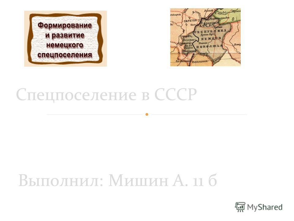 Выполнил: Мишин А. 11 б Спецпоселение в СССР