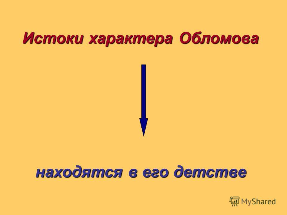 Истоки характера Обломова находятся в его детстве