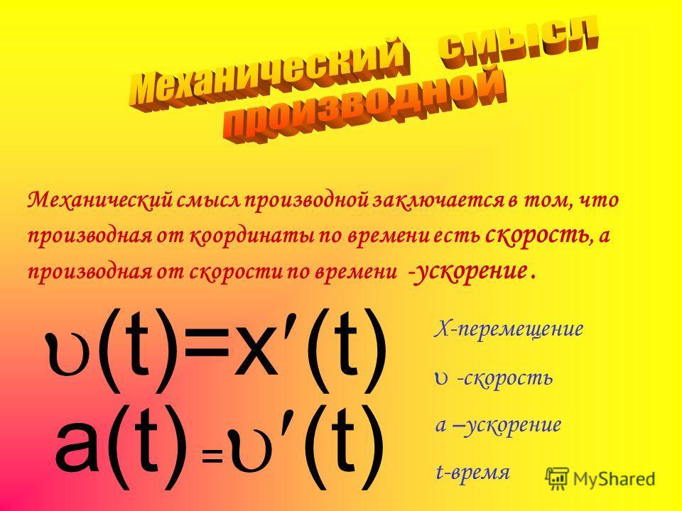 Механический смысл производной заключается в том, что производная от координаты по времени есть скорость, а производная от скорости по времени - ускорение. (t)=x (t) a(t) = (t) X-перемещение -скорость а –ускорение t-время