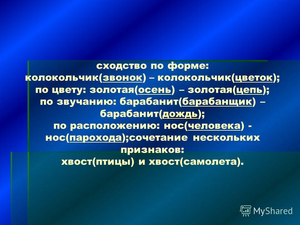 дождь сходство по форме: колокольчик(звонок) – колокольчик(цветок); по цвету: золотая(осень) – золотая(цепь); по звучанию: барабанит(барабанщик) – барабанит(дождь); по расположению: нос(человека) - нос(парохода);сочетание нескольких признаков: хвост(