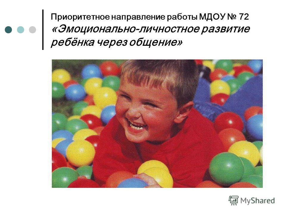 Приоритетное направление работы МДОУ 72 «Эмоционально-личностное развитие ребёнка через общение»