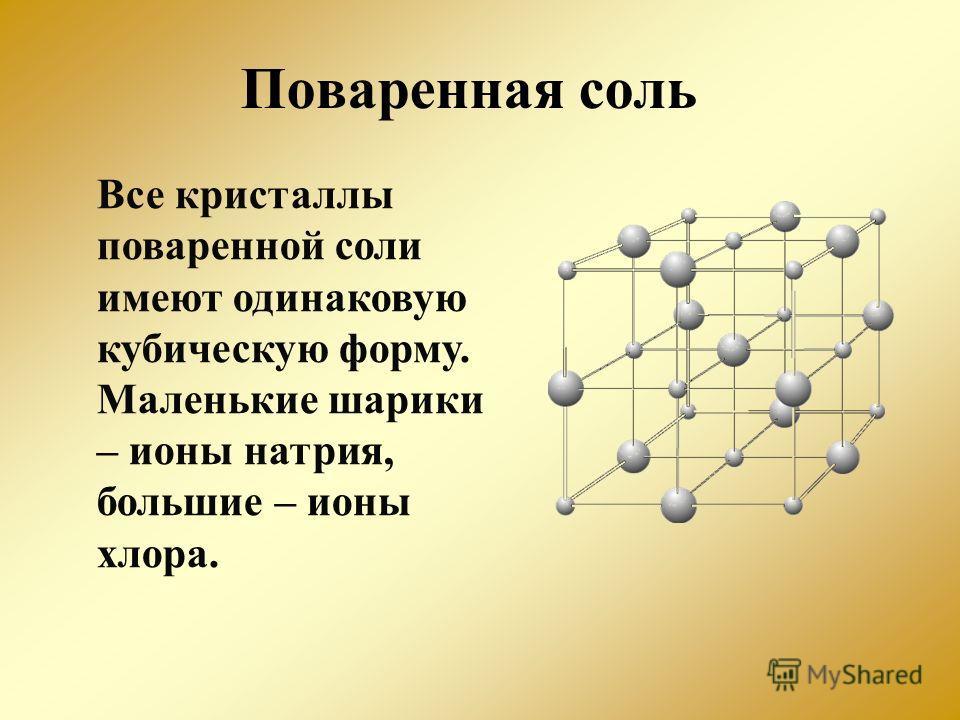 Поваренная соль Все кристаллы поваренной соли имеют одинаковую кубическую форму. Маленькие шарики – ионы натрия, большие – ионы хлора.
