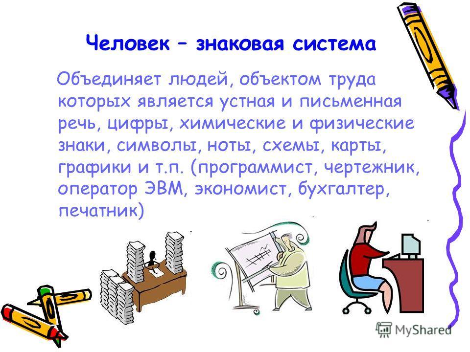 Человек – знаковая система Объединяет людей, объектом труда которых является устная и письменная речь, цифры, химические и физические знаки, символы, ноты, схемы, карты, графики и т.п. (программист, чертежник, оператор ЭВМ, экономист, бухгалтер, печа