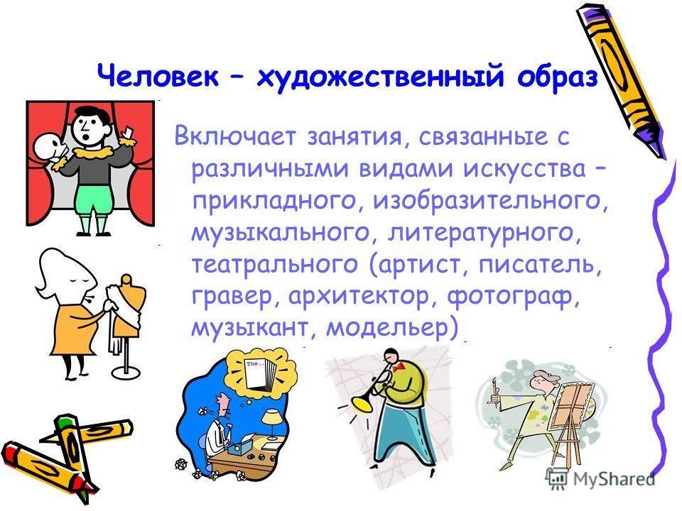 Человек – художественный образ Включает занятия, связанные с различными видами искусства – прикладного, изобразительного, музыкального, литературного, театрального (артист, писатель, гравер, архитектор, фотограф, музыкант, модельер)