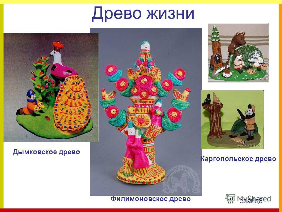 Древо жизни Дымковское древо Каргопольское древо Филимоновское древо слайд8