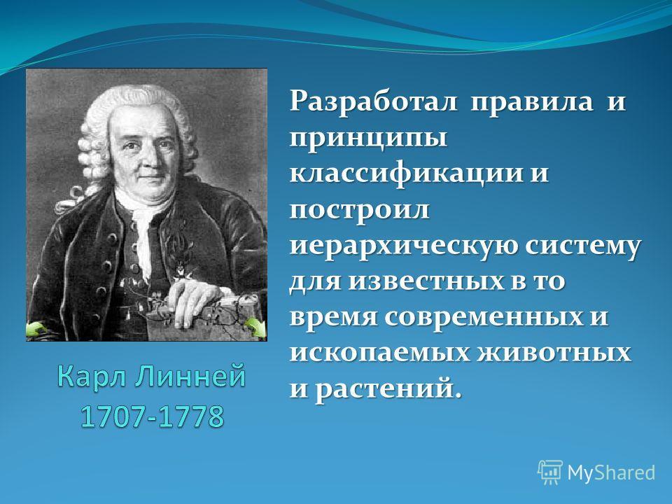 Разработал правила и принципы классификации и построил иерархическую систему для известных в то время современных и ископаемых животных и растений.