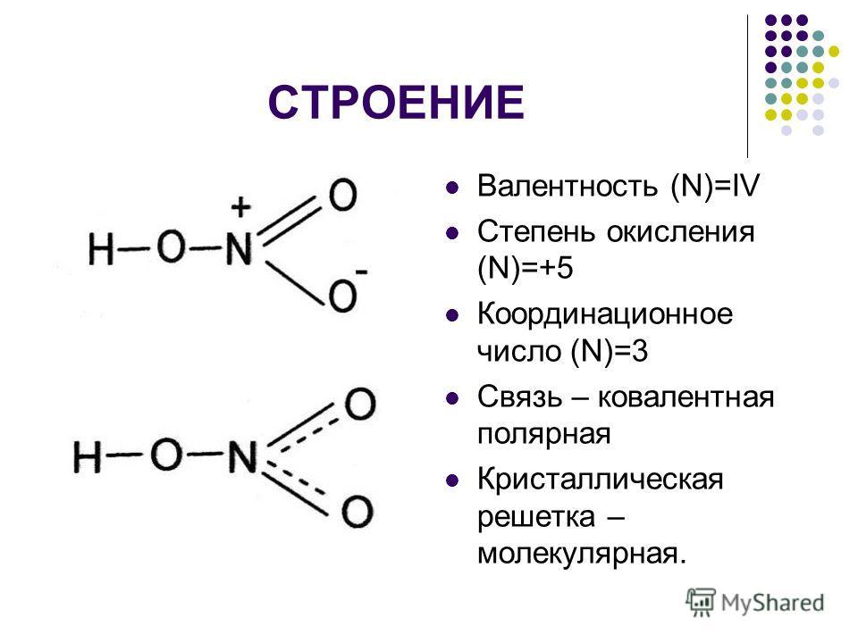СТРОЕНИЕ Валентность (N)=IV Степень окисления (N)=+5 Координационное число (N)=3 Связь – ковалентная полярная Кристаллическая решетка – молекулярная.