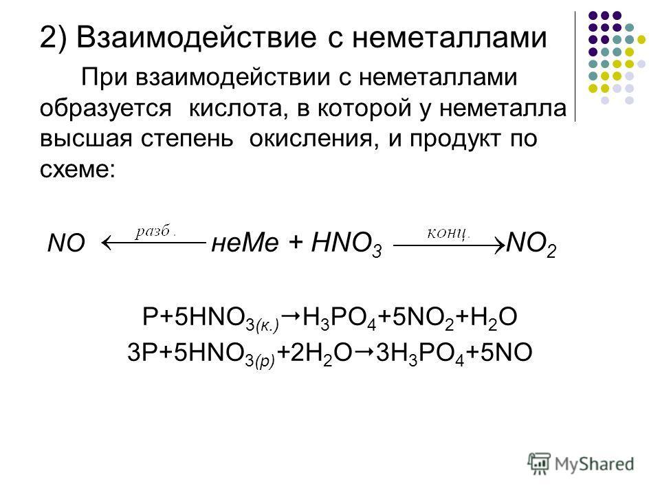 2) Взаимодействие с неметаллами При взаимодействии с неметаллами образуется кислота, в которой у неметалла высшая степень окисления, и продукт по схеме: NO неMe + HNO 3 NO 2 P+5HNO 3(к.) H 3 PO 4 +5NO 2 +H 2 O 3P+5HNO 3(р) +2H 2 O 3H 3 PO 4 +5NO