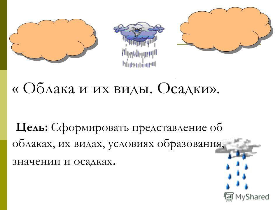 « Облака и их виды. Осадки». Цель: Сформировать представление об облаках, их видах, условиях образования, значении и осадках.