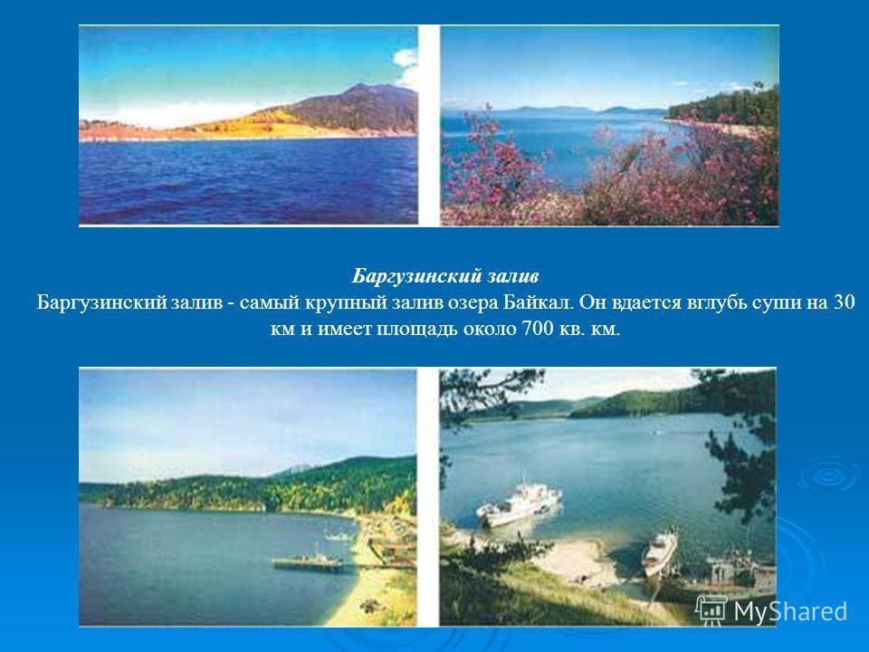 Баргузинский залив Баргузинский залив - самый крупный залив озера Байкал. Он вдается вглубь суши на 30 км и имеет площадь около 700 кв. км.