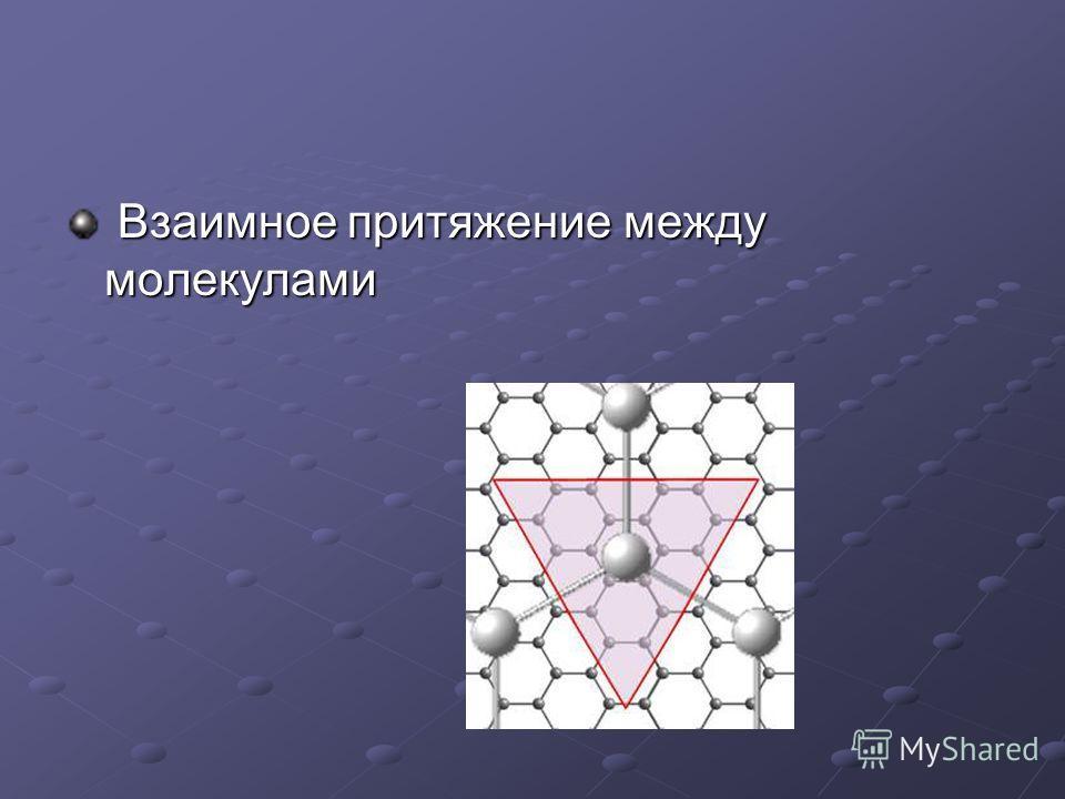 Взаимное притяжение между молекулами Взаимное притяжение между молекулами