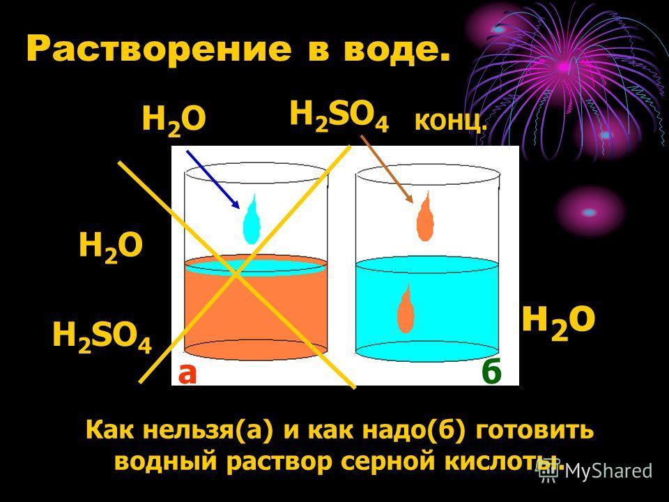 Растворение в воде. Как нельзя(а) и как надо(б) готовить водный раствор серной кислоты. Н2ОН2О Н2ОН2О Н 2 SO 4 H 2 SO 4 КОНЦ. н2он2о а б