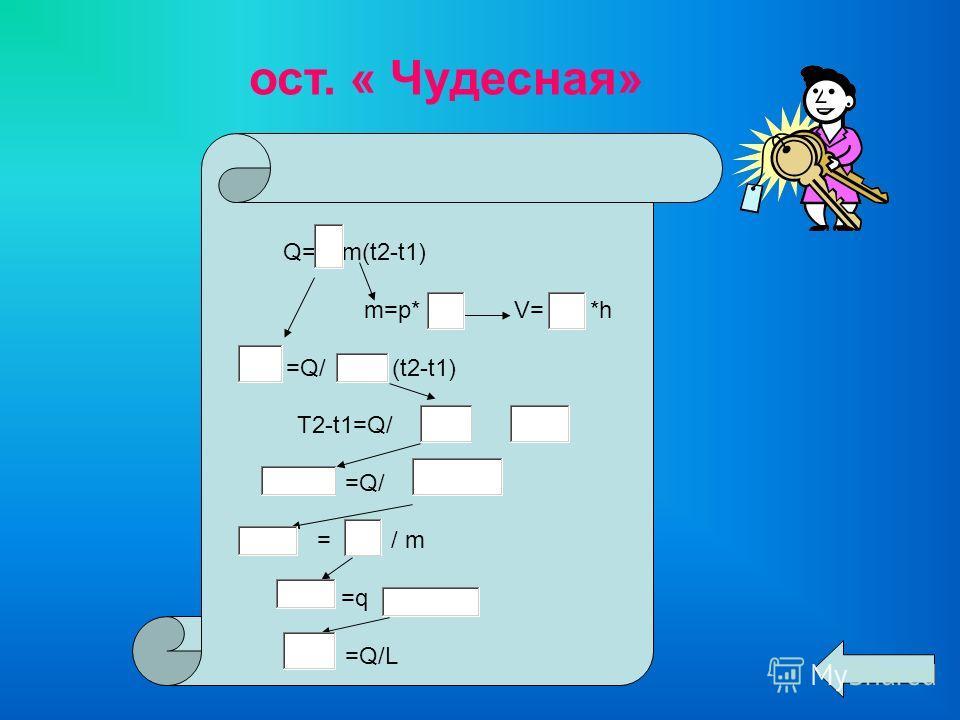 ост. « Чудесная» Q= m(t2-t1) m=p* V= *h =Q/ (t2-t1) T2-t1=Q/ =Q/ = / m =q =Q/L