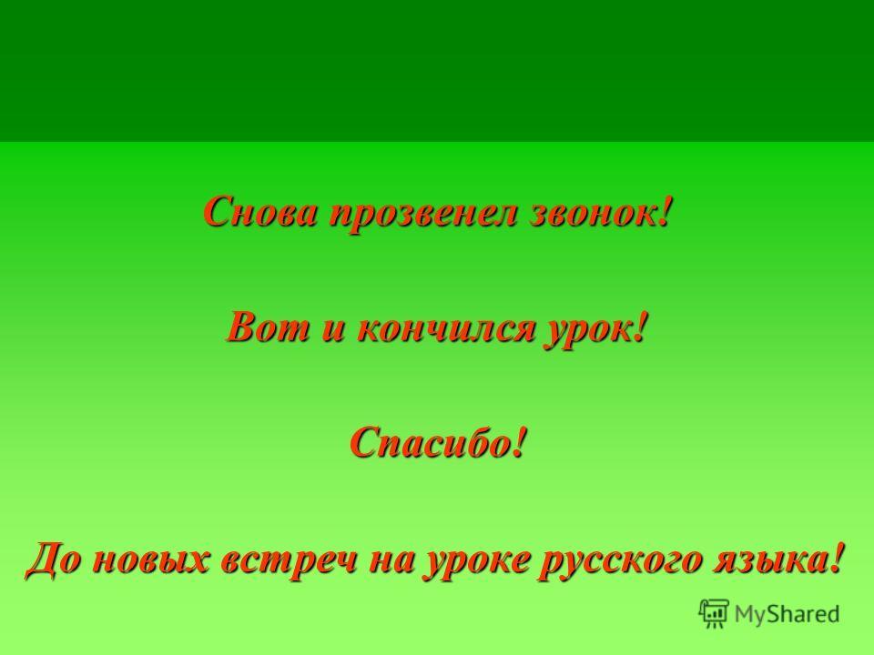 Снова прозвенел звонок! Вот и кончился урок! Спасибо! До новых встреч на уроке русского языка!