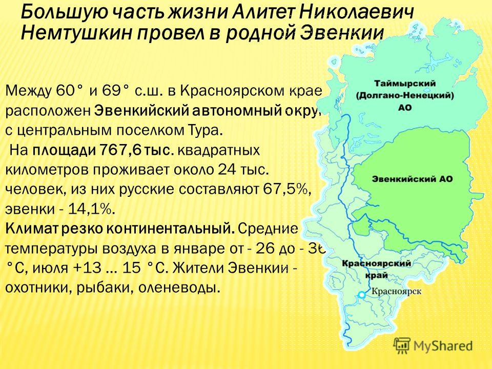 Большую часть жизни Алитет Николаевич Немтушкин провел в родной Эвенкии Между 60° и 69° с.ш. в Красноярском крае расположен Эвенкийский автономный округ с центральным поселком Тура. На площади 767,6 тыс. квадратных километров проживает около 24 тыс.