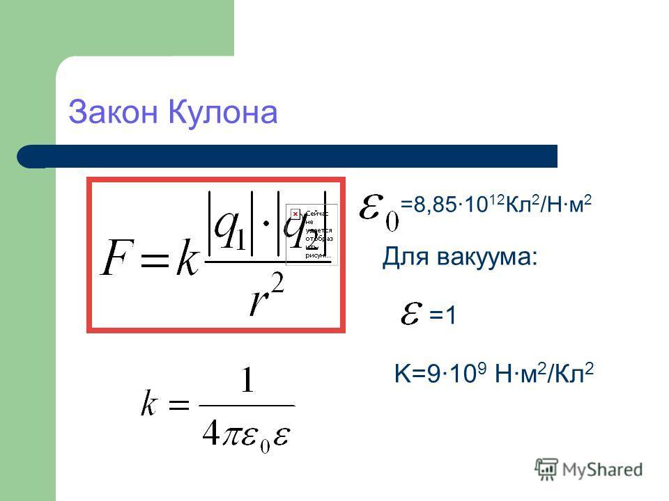 Закон Кулона =8,85·10 12 Кл 2 /Н·м 2 Для вакуума: =1 K=9·10 9 Н·м 2 /Кл 2