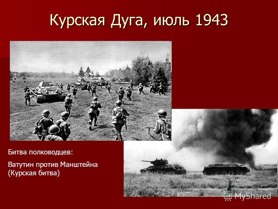 Курская Дуга, июль 1943 Битва полководцев: Ватутин против Манштейна (Курская битва)