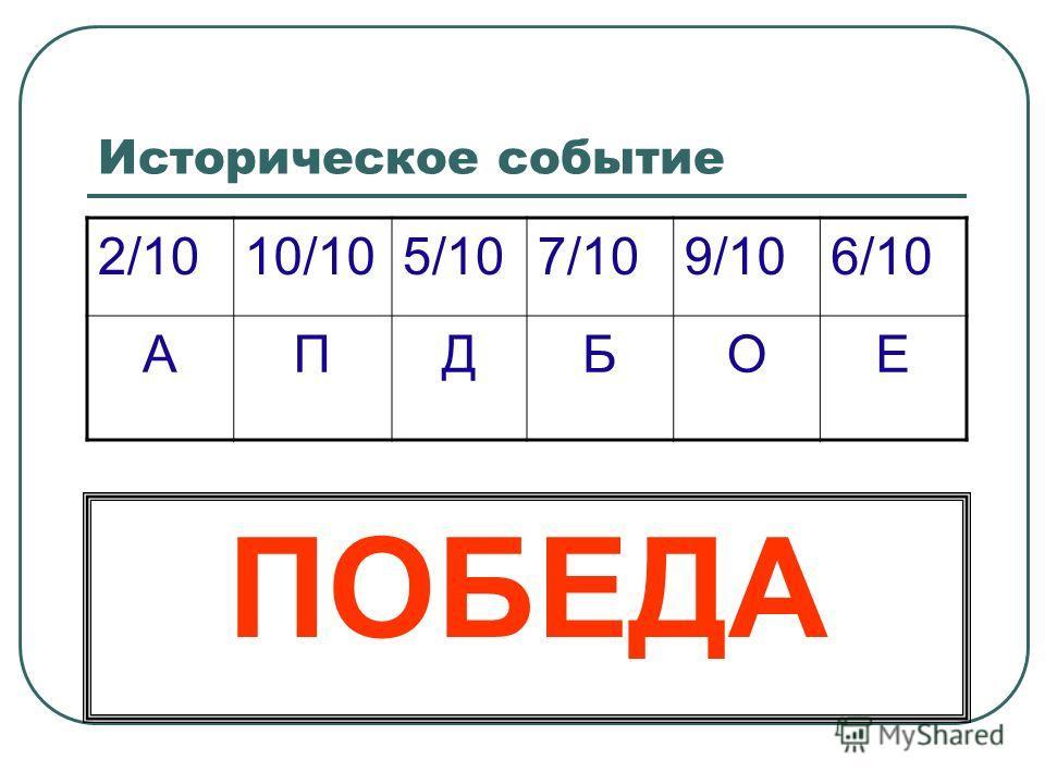 Историческое событие 2/1010/105/107/109/106/10 АПДБОЕ ПОБЕДА