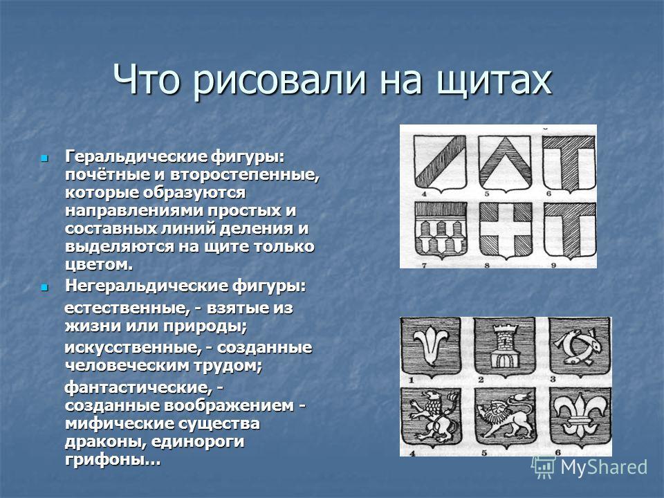 Что рисовали на щитах Геральдические фигуры: почётные и второстепенные, которые образуются направлениями простых и составных линий деления и выделяются на щите только цветом. Геральдические фигуры: почётные и второстепенные, которые образуются направ