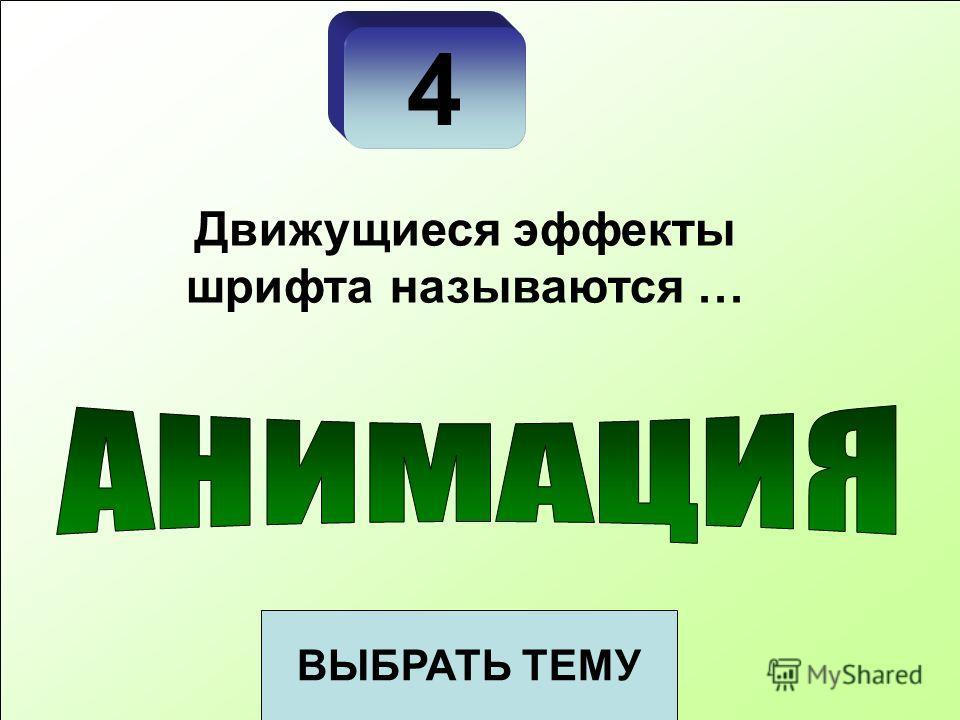 4 ВЫБРАТЬ ТЕМУ Движущиеся эффекты шрифта называются …