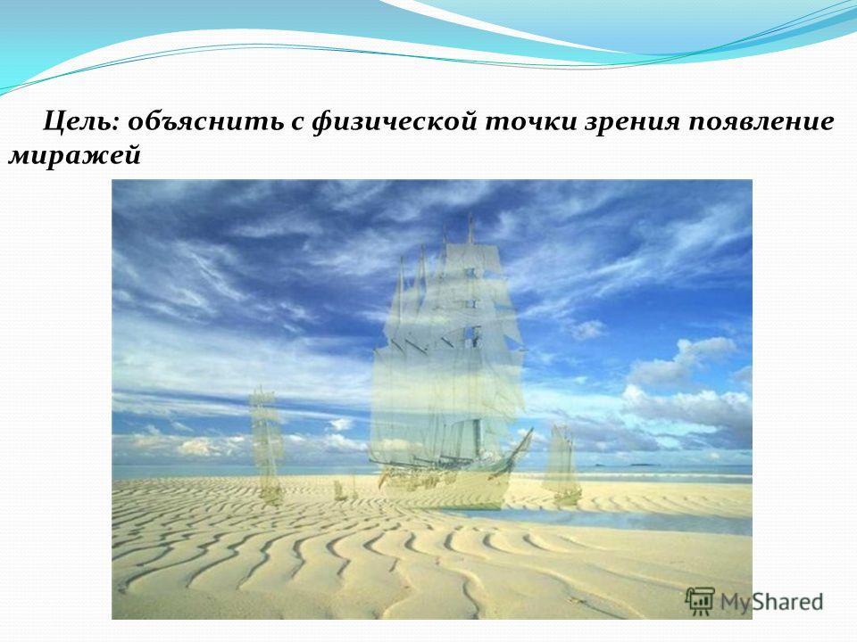 Цель: объяснить с физической точки зрения появление миражей