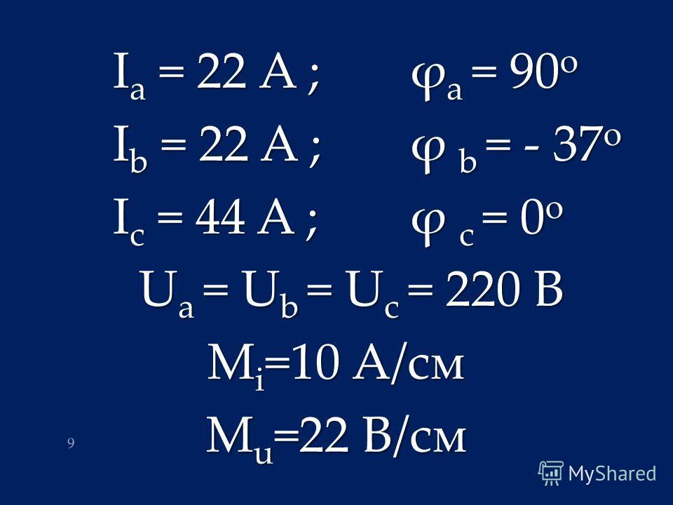 I a = 22 A ; ϕ a = 90 o I b = 22 A ; ϕ b = - 37 o I c = 44 A ; ϕ c = 0 o U a = U b = U c = 220 B M i =10 A/см M u =22 B/см 9