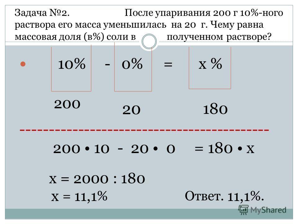 10% - 0% = х % 200 20 180 ------------------------------------------- 200 10 - 20 0 = 180 х х = 2000 : 180 х = 11,1 % Ответ. 11,1 %. Задача 2. После упаривания 200 г 10%-ного раствора его масса уменьшилась на 20 г. Чему равна массовая доля (в%) соли