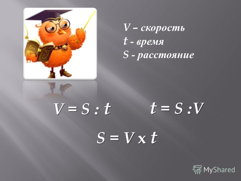 V – скорость t - время S - расстояние V = S : t t = S :V S = V x t