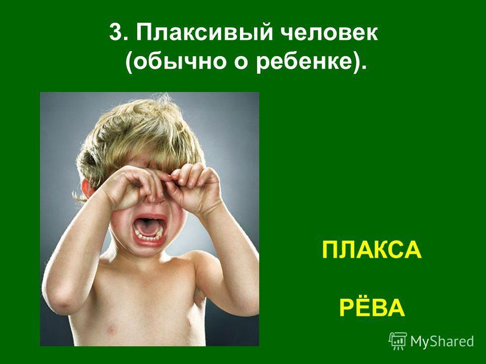 3. Плаксивый человек (обычно о ребенке). ПЛАКСА РЁВА