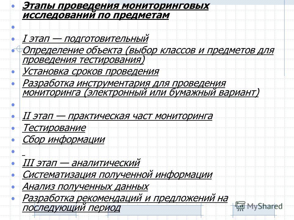 Этапы проведения мониторинговых исследований по предметам I этап подготовительный Определение объекта (выбор классов и предметов для проведения тестирования) Установка сроков проведения Разработка инструментария для проведения мониторинга (электронны