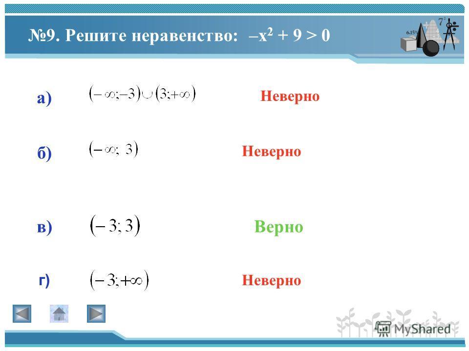 8. Решите неравенство: а) г) в) б) Верно Неверно