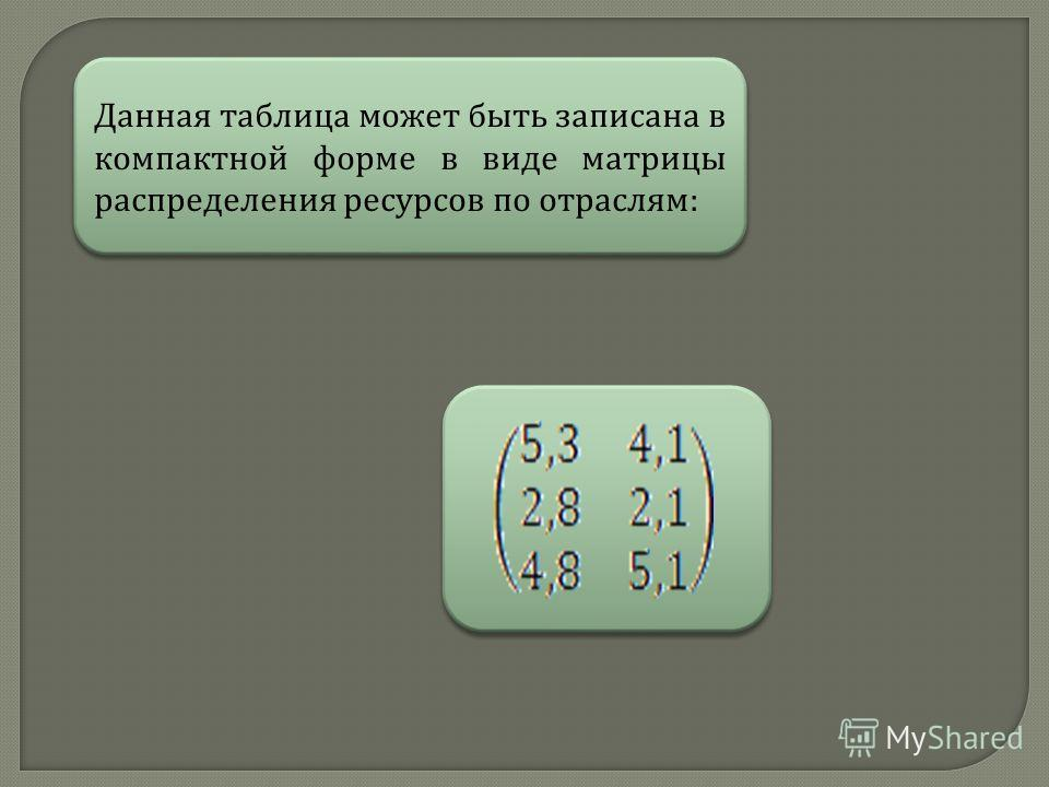 Данная таблица может быть записана в компактной форме в виде матрицы распределения ресурсов по отраслям :