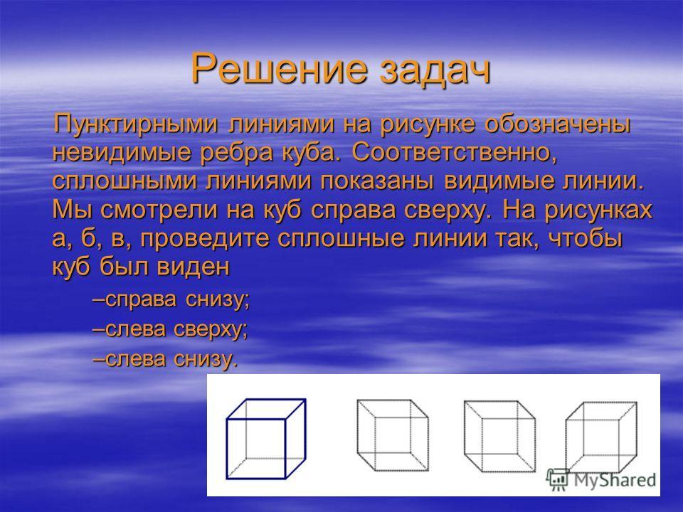 Решение задач Пунктирными линиями на рисунке обозначены невидимые ребра куба. Соответственно, сплошными линиями показаны видимые линии. Мы смотрели на куб справа сверху. На рисунках а, б, в, проведите сплошные линии так, чтобы куб был виден –справа с