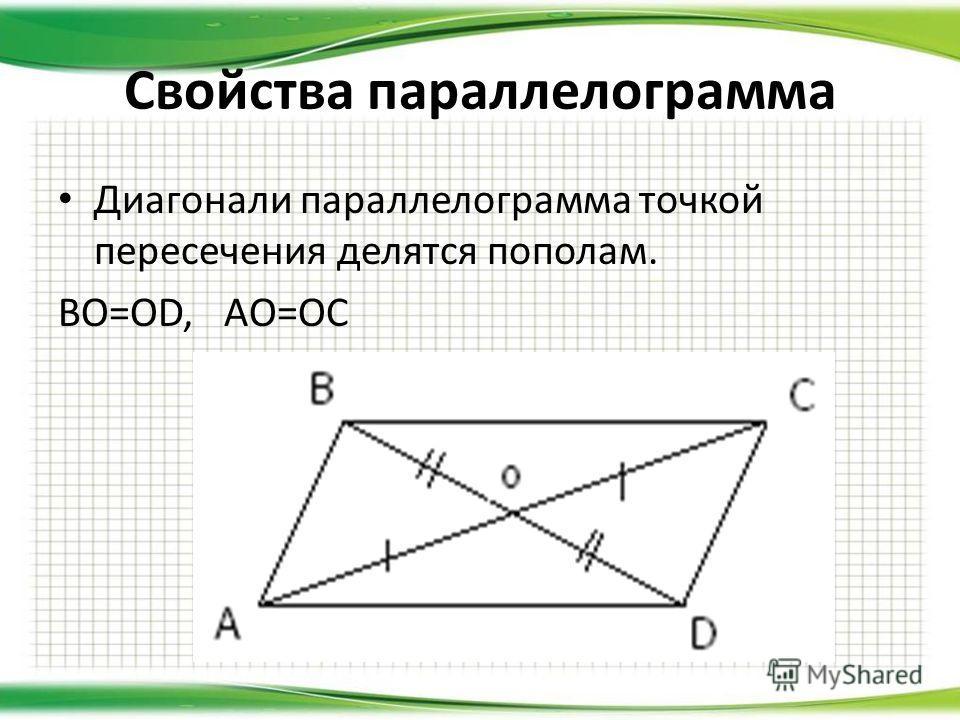 Свойства параллелограмма Диагонали параллелограмма точкой пересечения делятся пополам. BO=OD, AO=OC
