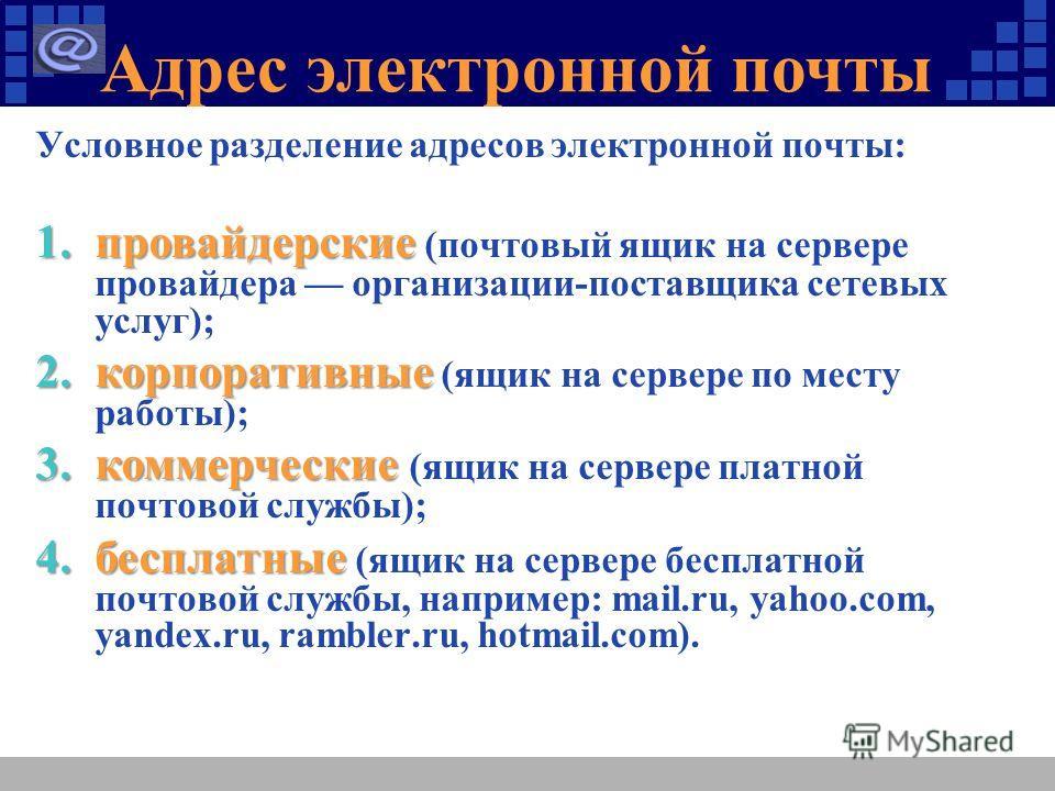 Адрес электронной почты Условное разделение адресов электронной почты: 1.провайдерские 1.провайдерские (почтовый ящик на сервере провайдера организации-поставщика сетевых услуг); 2.корпоративные 2.корпоративные (ящик на сервере по месту работы); 3.ко