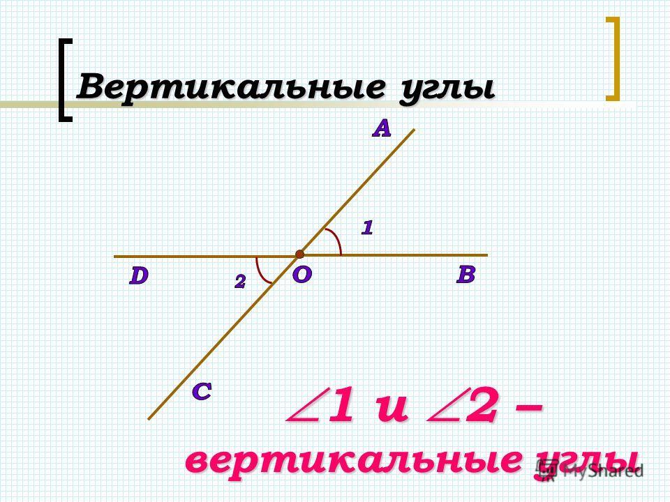 Вертикальные углы 1 и 2 – вертикальные углы