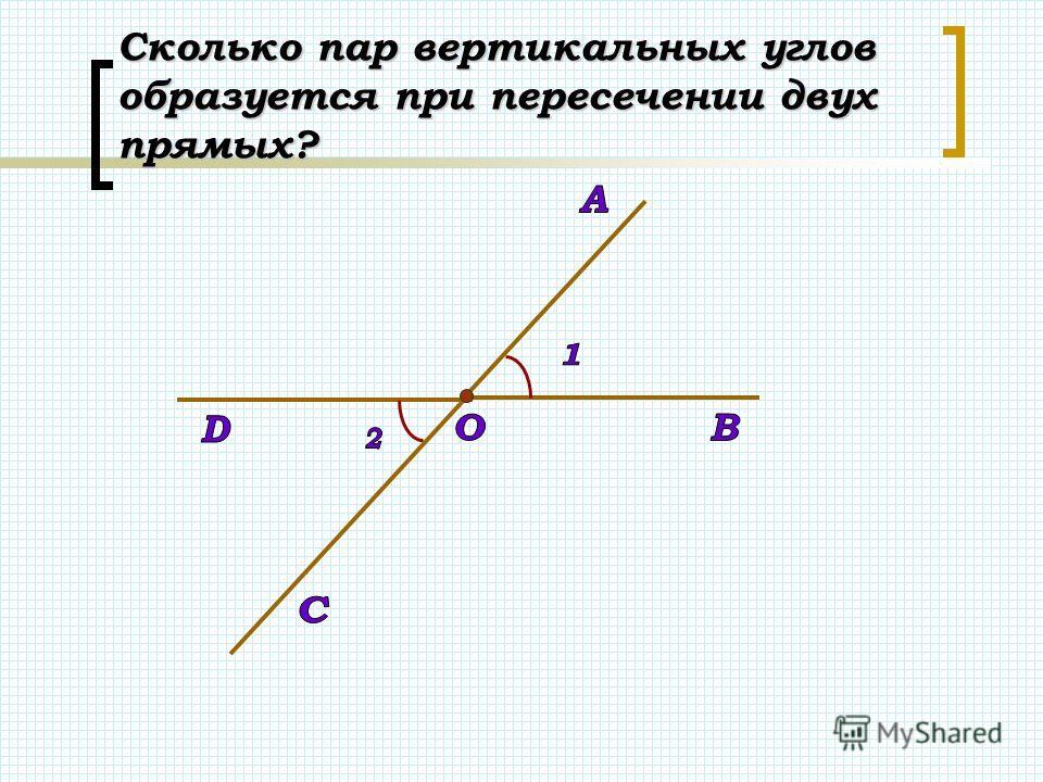 Сколько пар вертикальных углов образуется при пересечении двух прямых?