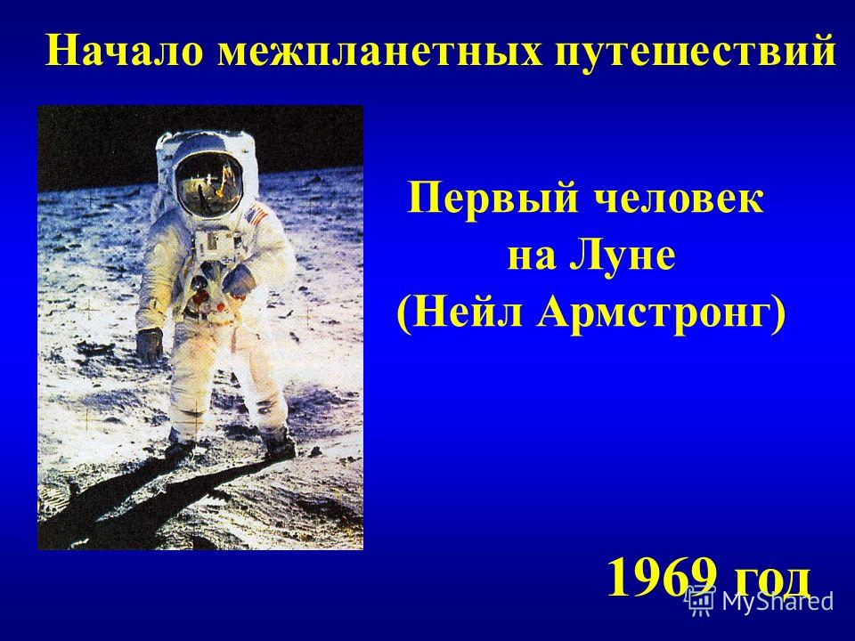 Начало межпланетных путешествий Первый человек на Луне (Нейл Армстронг) 1969 год
