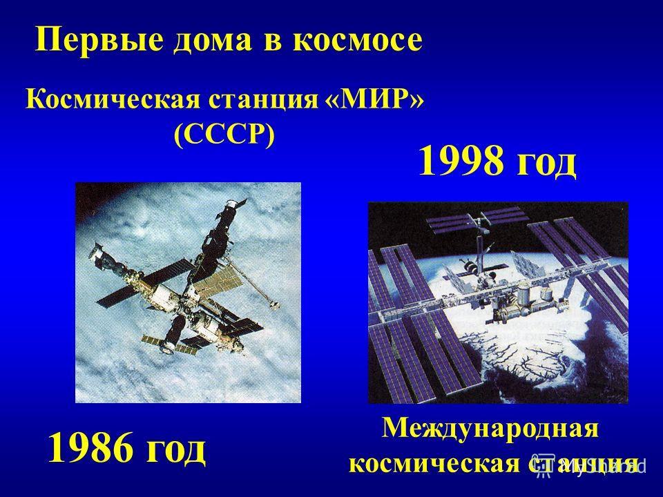 Первые дома в космосе Космическая станция «МИР» (СССР) 1986 год 1998 год Международная космическая станция