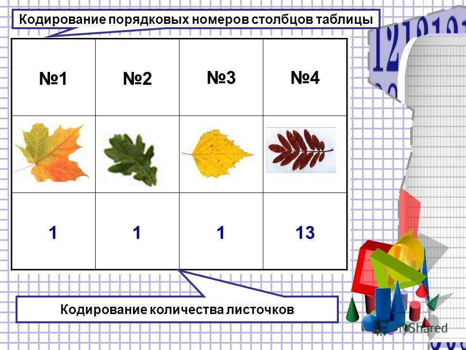 12 34 11113 Кодирование порядковых номеров столбцов таблицы Кодирование количества листочков