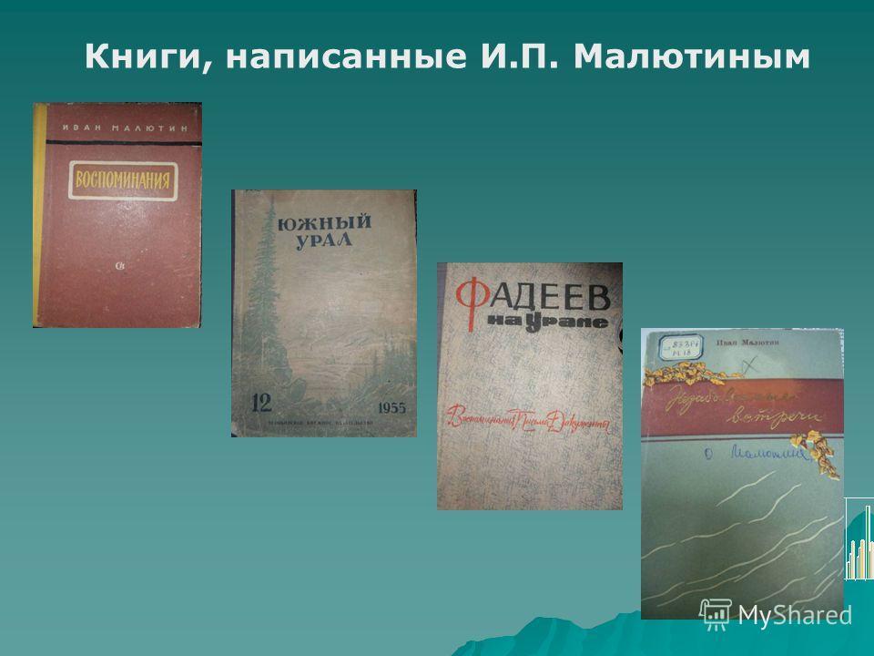 Книги, написанные И.П. Малютиным