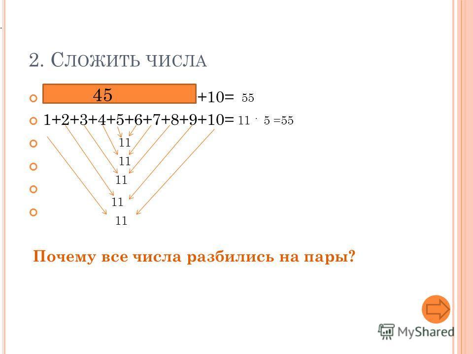 2. С ЛОЖИТЬ ЧИСЛА 1+2+3+4+5+6+7+8+9+10= 45 11 55 11 5 =55 Почему все числа разбились на пары?