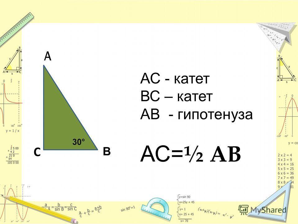 С В А АС - катет ВС – катет АВ - гипотенуза АС= ½ АВ 30°