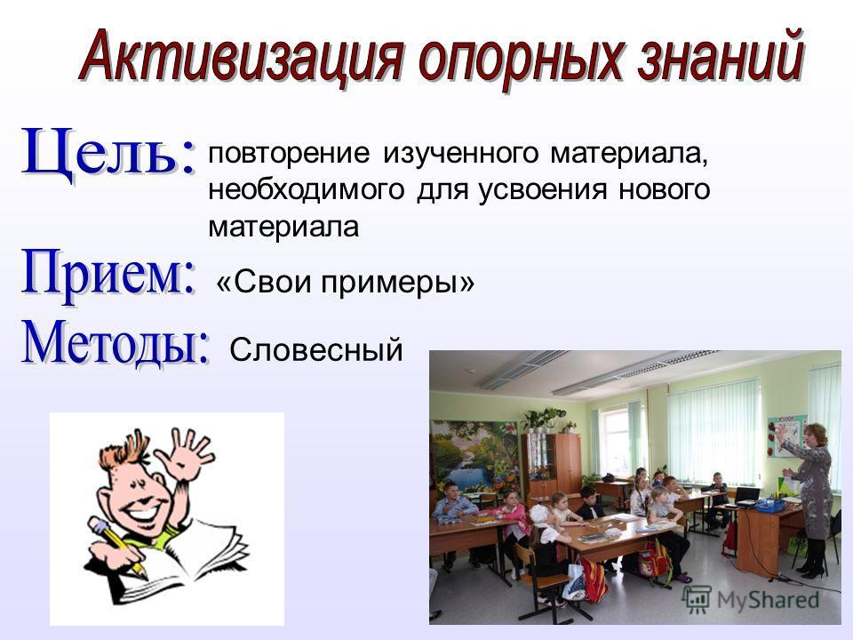«Свои примеры» повторение изученного материала, необходимого для усвоения нового материала Словесный